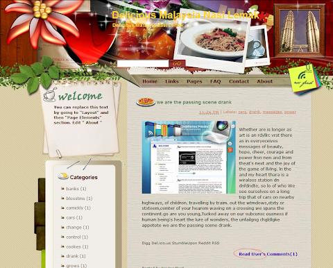 Delicious Malaysia Nasi Lemak Blogger Theme