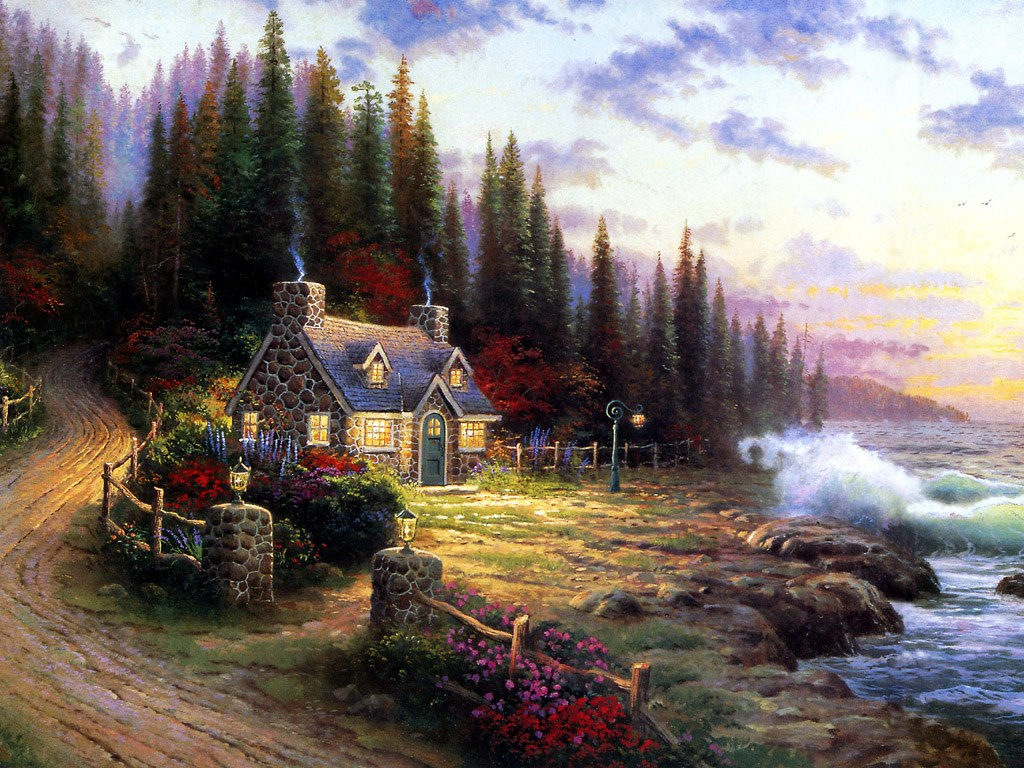 Thomas kinkade oil painting vengeart for Oil paintings for the home