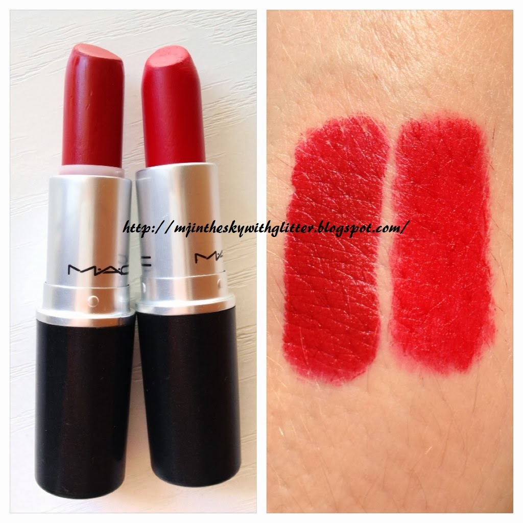... with Glitter: MAC RUSSIAN RED vs RUBY WOO