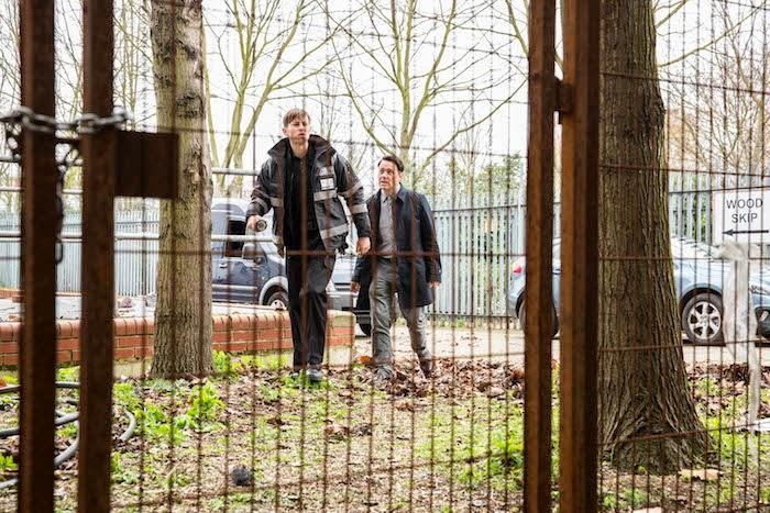 REECE SHEARSMITH as DS Sean Stone and ELLIOTT TITTENSOR as John Meadows. Chasing Shadows ITV