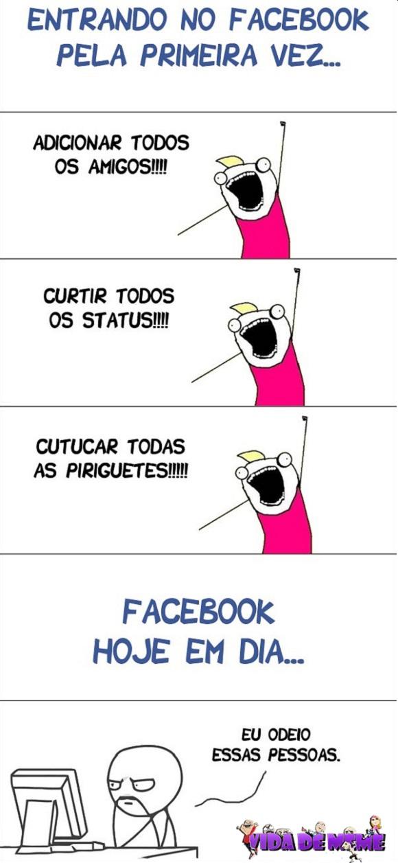 Tirinha do blog Vida de Meme: Como é o facebook hoje em dia