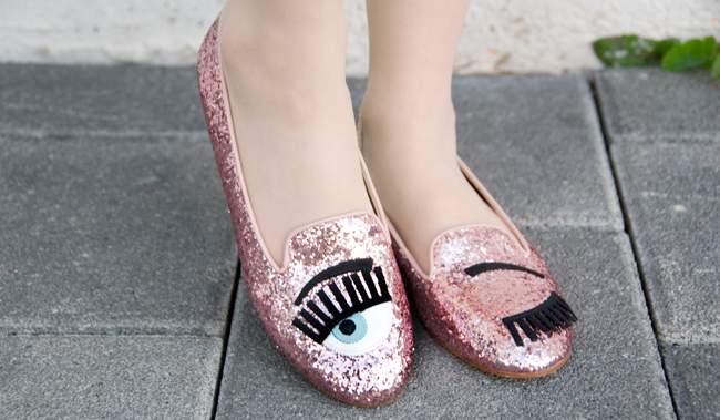 Chiara Ferragni, glitter shoes, shoes with eyes