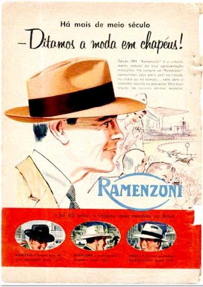 Propaganda dos Chapéus Ramenzoni, diretamente de 1956: sinônimo de elegância.