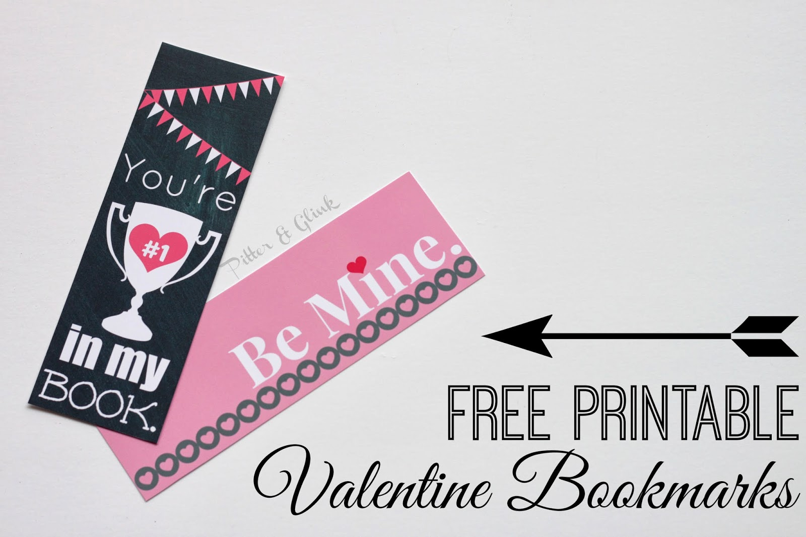 Download these cute printable bookmarks from Pitter and Glink just in time for Valentine's Day! www.PitterandGlink.com