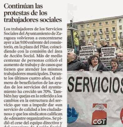 concentración profesionales trabajadores servicios sociales ayuntamiento zaragoza