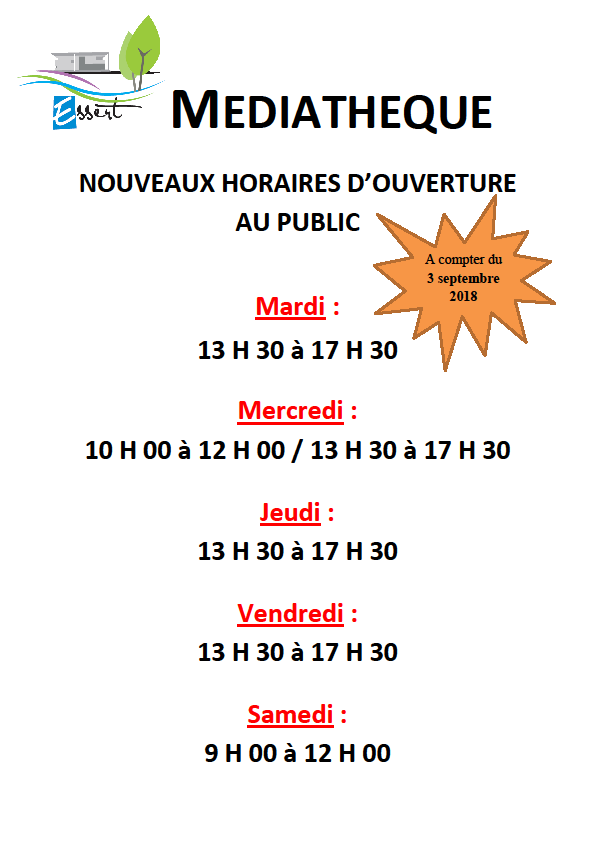 HORAIRES D'OUVERTURE