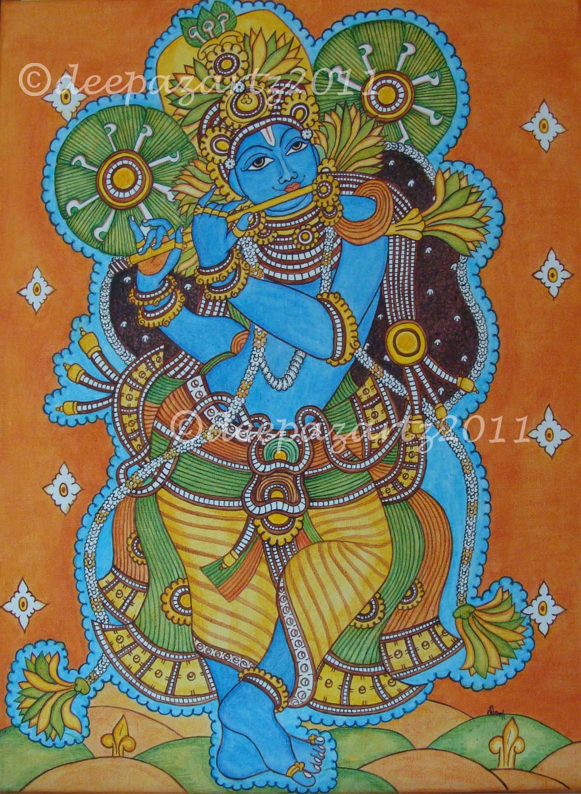 Hues n shades lord krishna mural 55th kerala day for Canvas mural painting