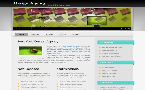 Free Design Agency HTML Flash CSS website Template