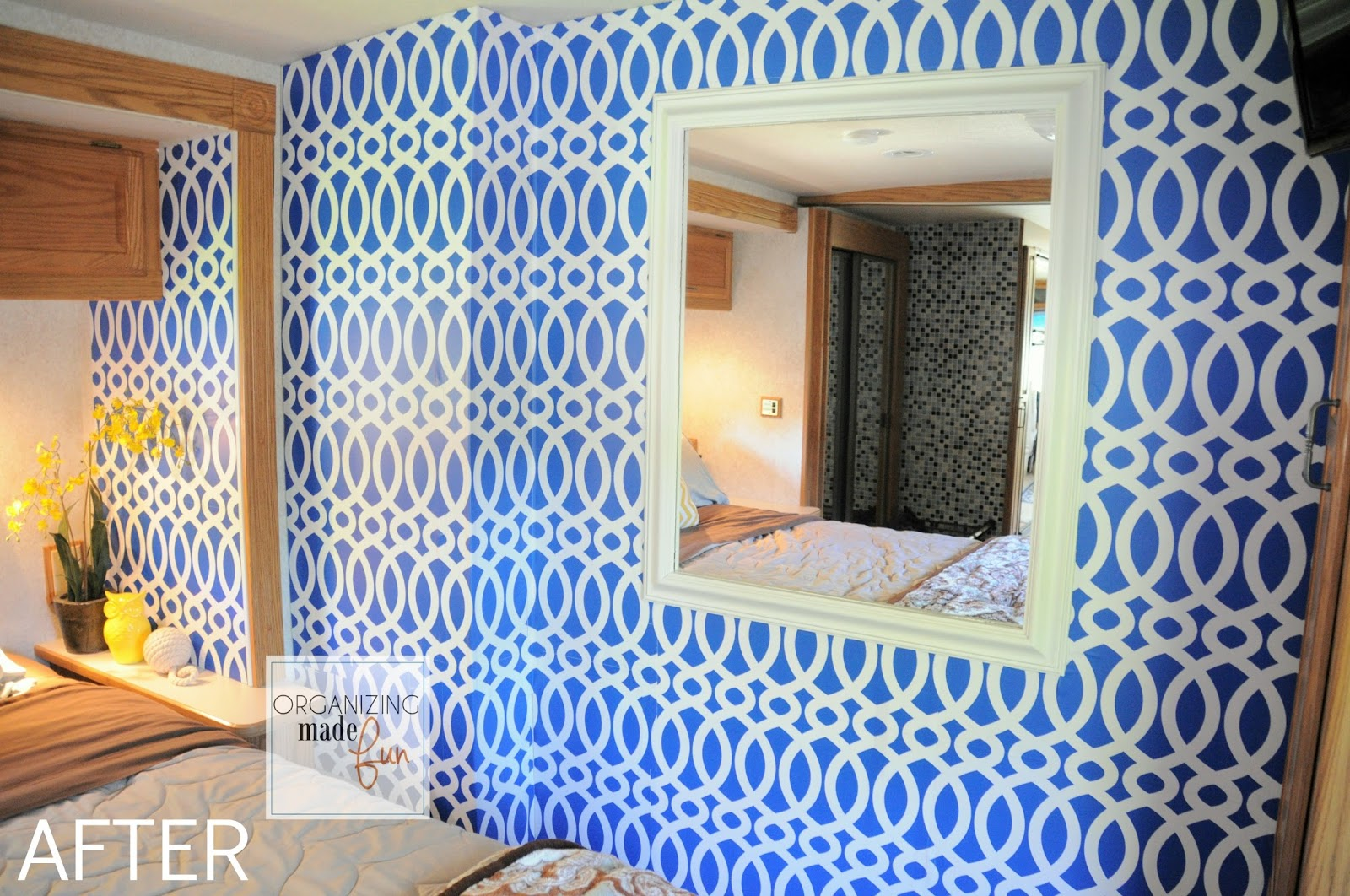 RV Master Bedroom Wall Transformed With Wallpaper OrganizingMadeFun