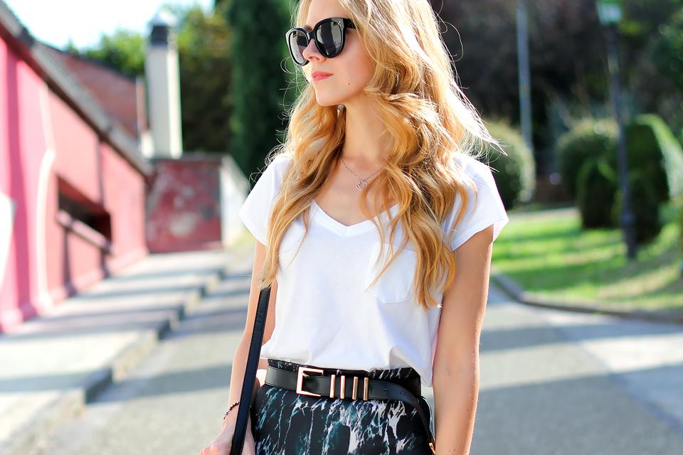 Marble print skirt, white tee, Celine Audrey sunglasses