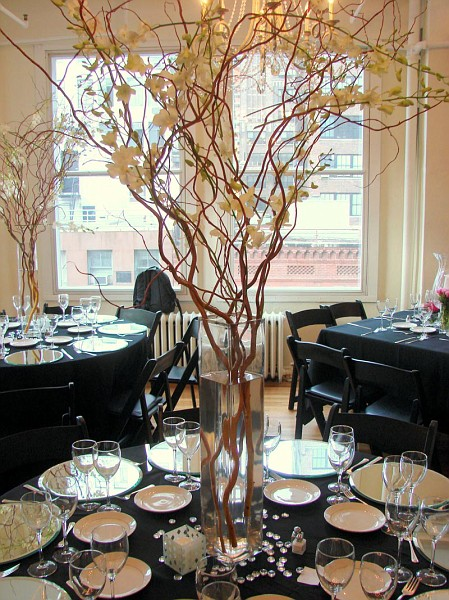The Autumn Wedding: Curly Willow Branches with Orchid Centerpieces ...