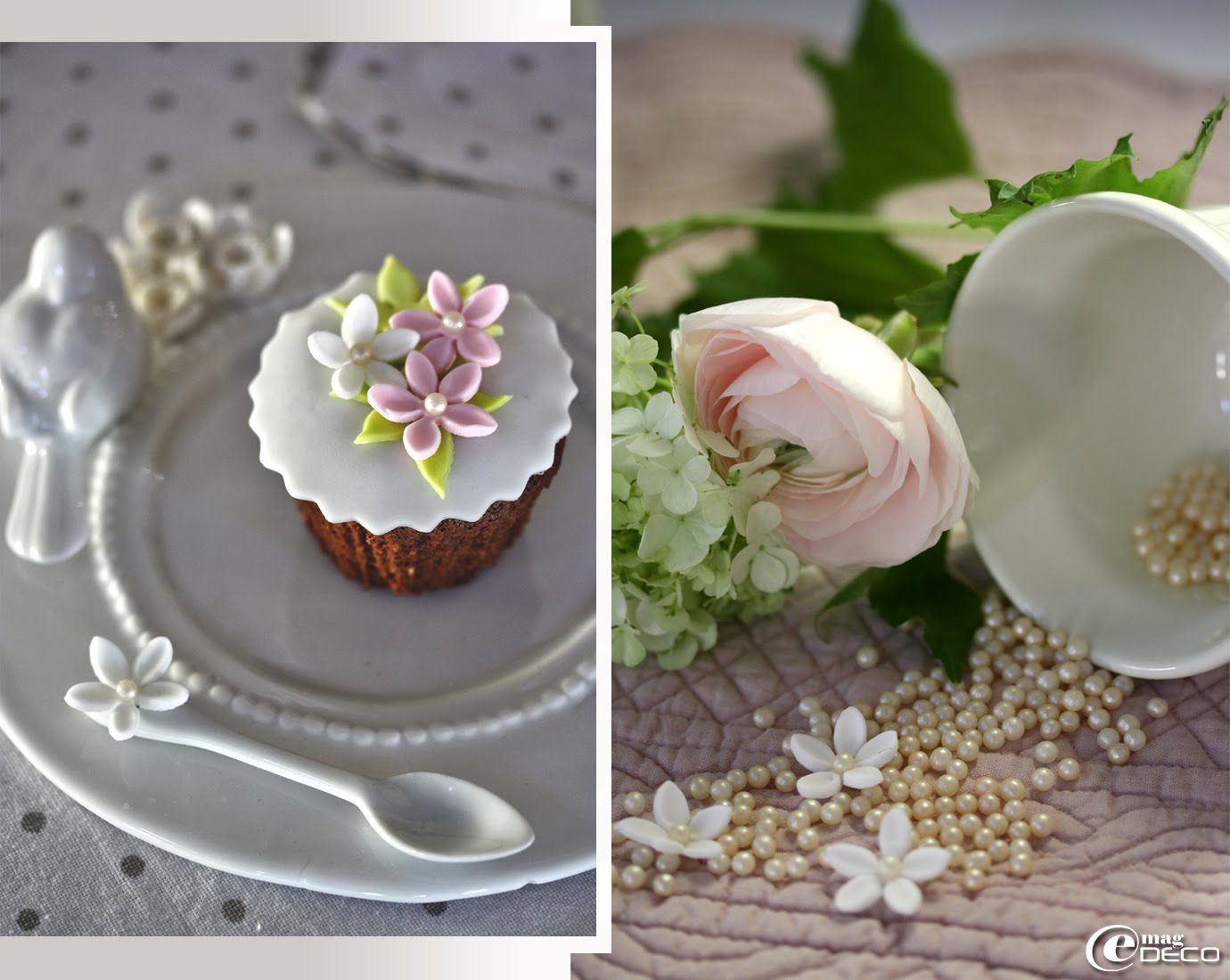 Création de Nina Couto, un cupcake décoré avec des fleurs