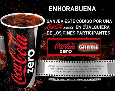 Cupón cine Coca Cola Zero gratis