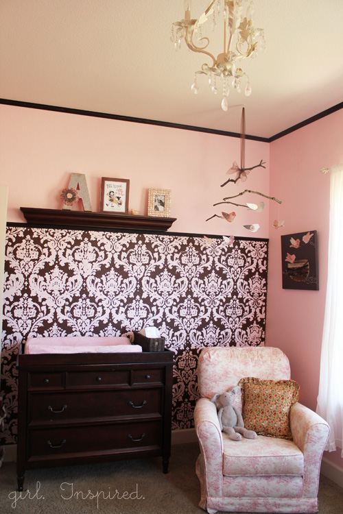 pink and brown baby nursery girl inspired