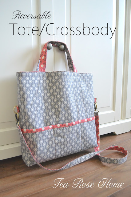 Modes Fabric Review Reversable Tote Crossbody Bag