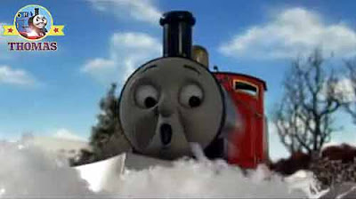 Thomas and friends red steam Locomotive James train didn't notice the tracks were extremely cold