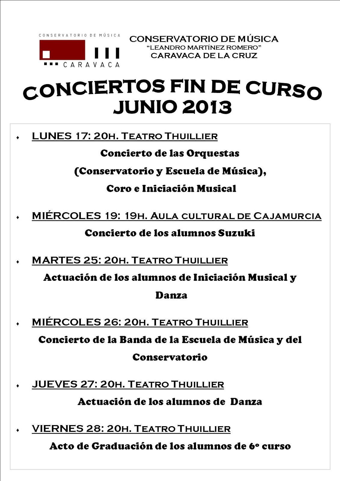 Conservatorio de m sica caravaca de la cruz junio 2013 for Conservatorio de musica