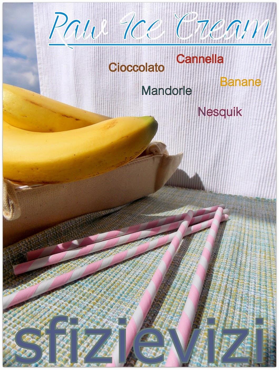 vegan ice cream: gelato cremoso banane e cioccolato con cannella e mandorle (senza gelatiera)