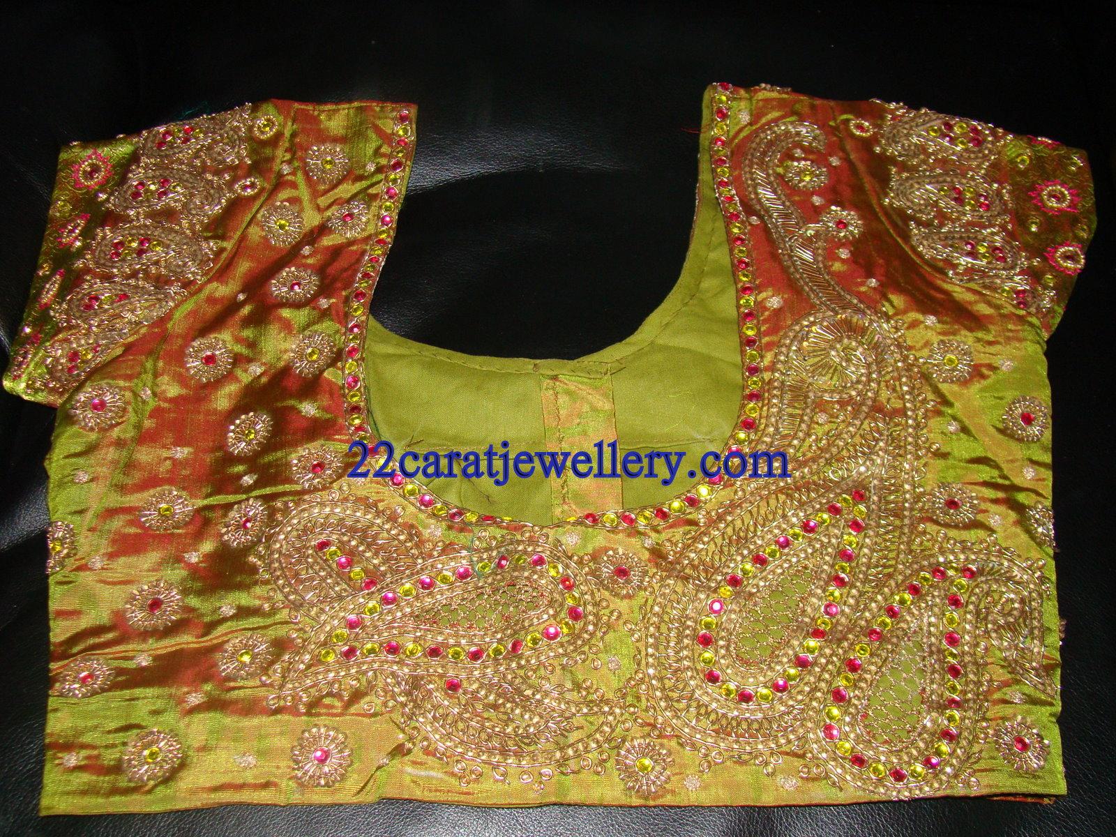 Designer Stone Kundan Beads Work Blouses For Wedding Sarees Saree Blouse Patterns