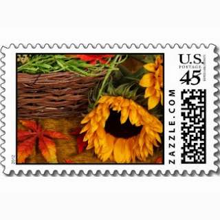 Thanksgiving Harvest Postage Stamps and Greetings