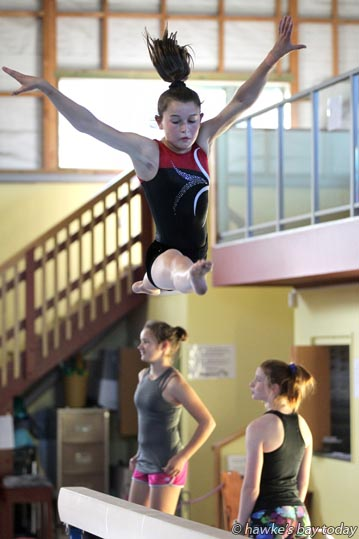 Laura Johnson, 13, Haumoana, gymnast at Omni Gymnastics Centre, Napier, training before representing New Zealand in Hawaii on 08-20 January 2016. photograph