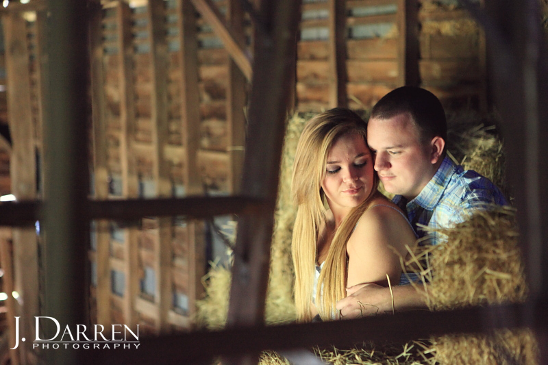 engagement photos in a barn on a farm in NC