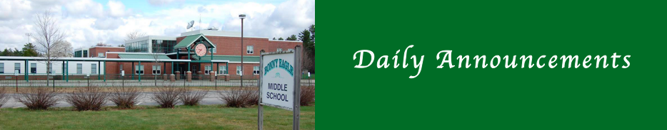 Bonny Eagle Middle School Daily Announcements