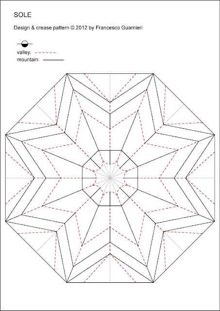 Origami Crease Pattern Sole - Sun by Francesco Guarnieri
