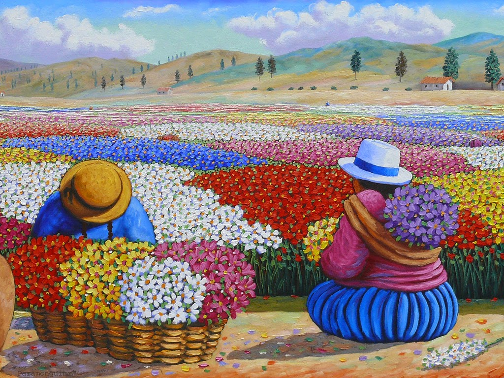 Cuadros modernos pinturas y dibujos mujeres campesinas - Pintura cuadros modernos ...