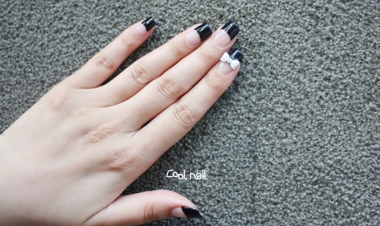 So Moving On To This Black Deep French Gel Nails