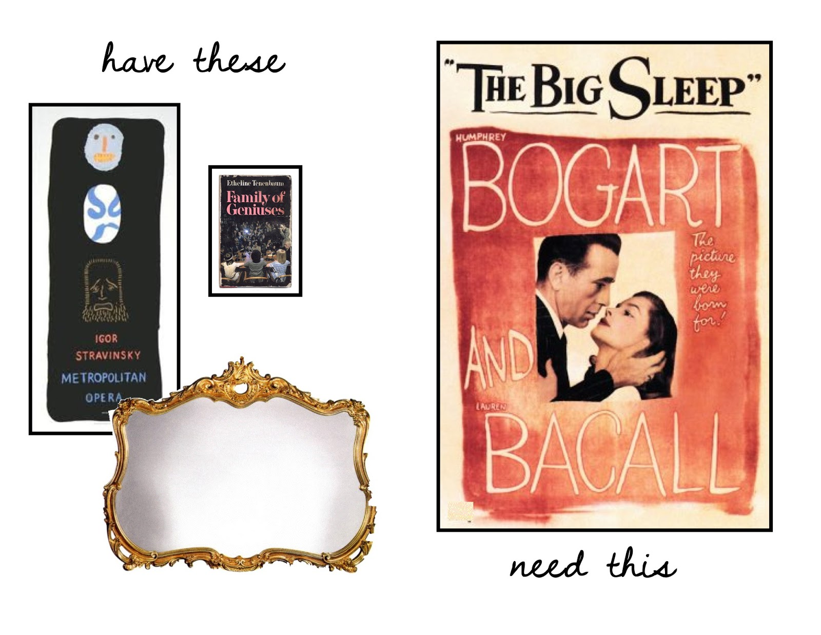 The Big Sleep & Stravinsky posters, antique gold mirror