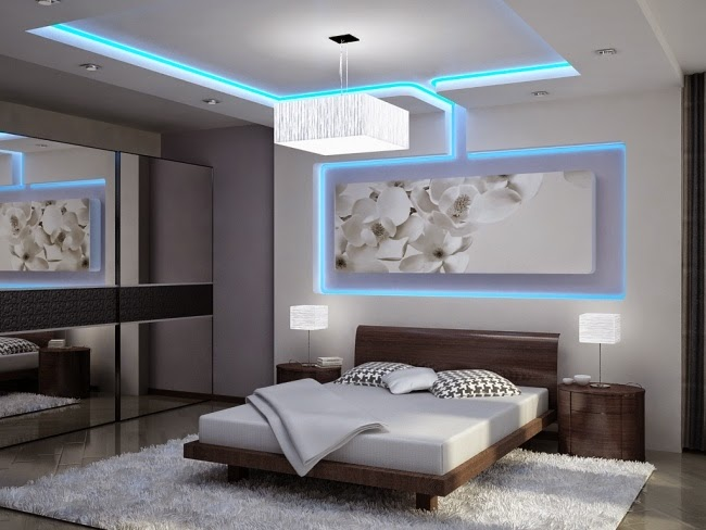 Colored led ceiling lighting in ultra modern suspended ceiling design