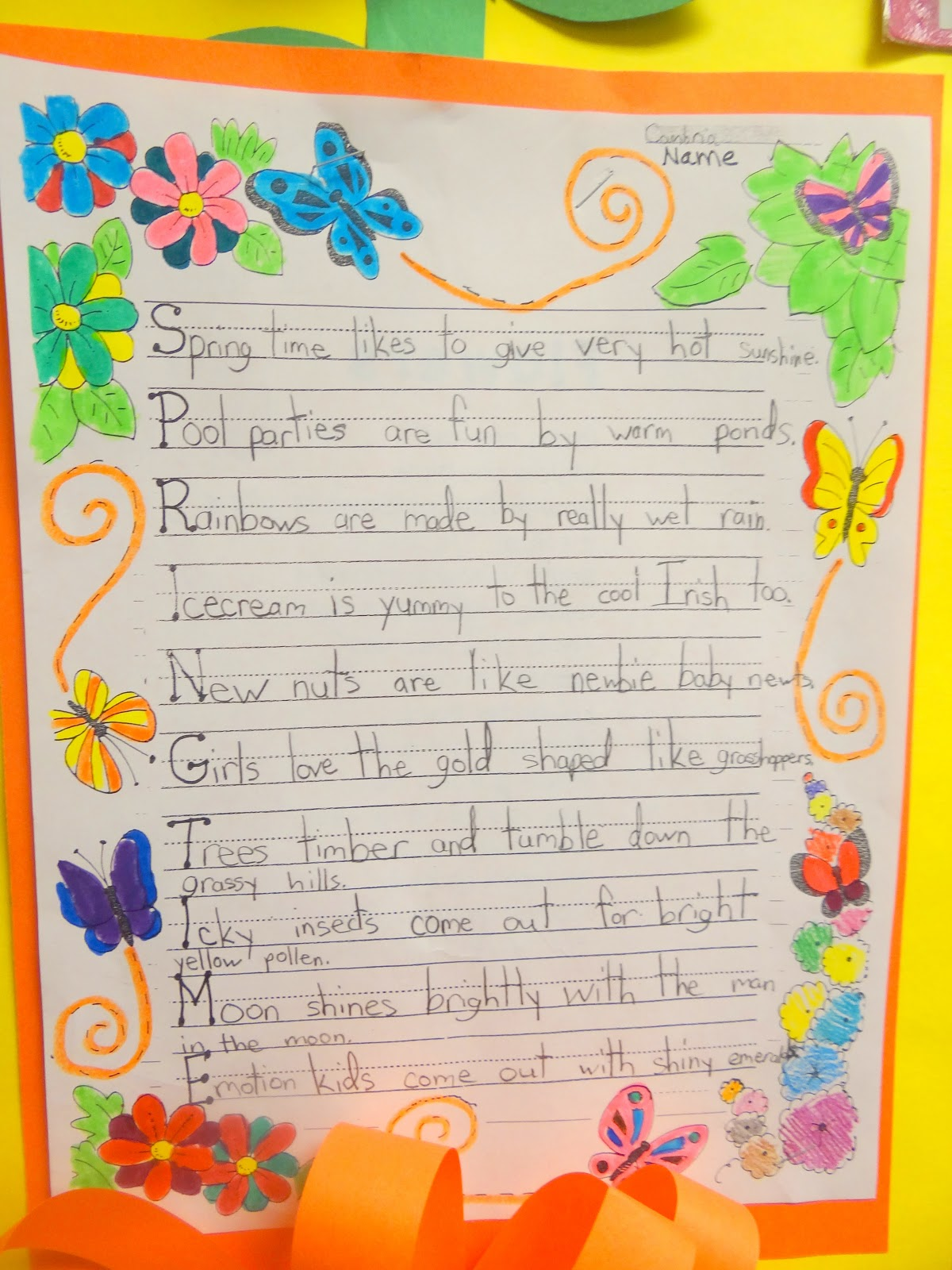 patties classroom springtime acrostic poems and pom pom flowers wednesday 24 2013