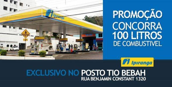 """Promoção em Blumenau: """"Concorra a 100 Litros de Combustível""""."""