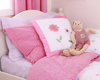 Babyface Gingham Girl's Bedding - Lilac Gingham. Shown in a girl's bedroom.