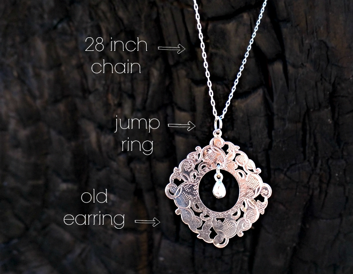 old earring into a pendant necklace diy tutorial