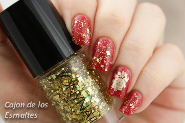 uñas navidad rojo y dorado