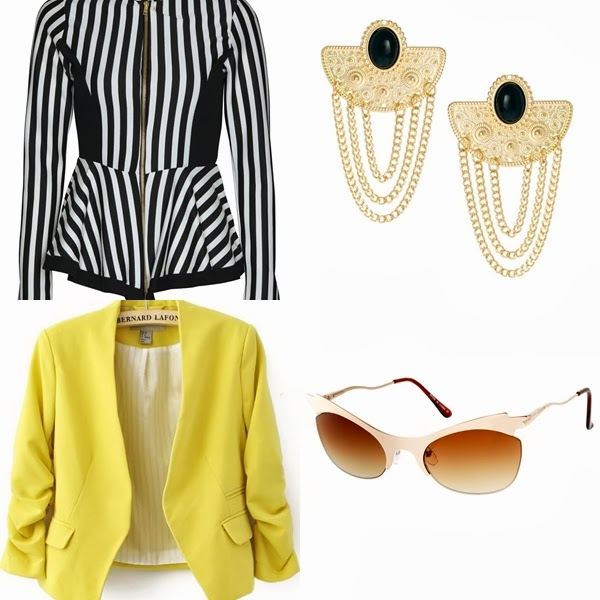 striped zip through blazer,yellow collarless blazer,chain earrings,cat eye sunglasses
