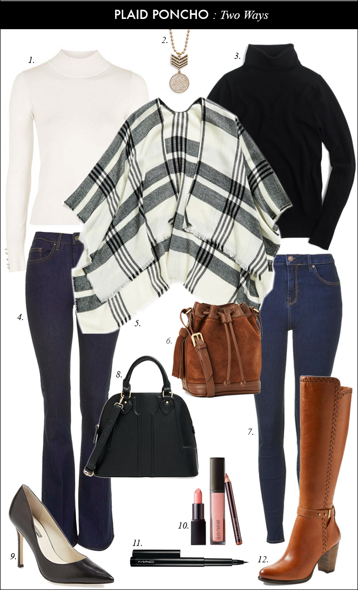nordstrom, plaid poncho, riding boots, seventies, pumps