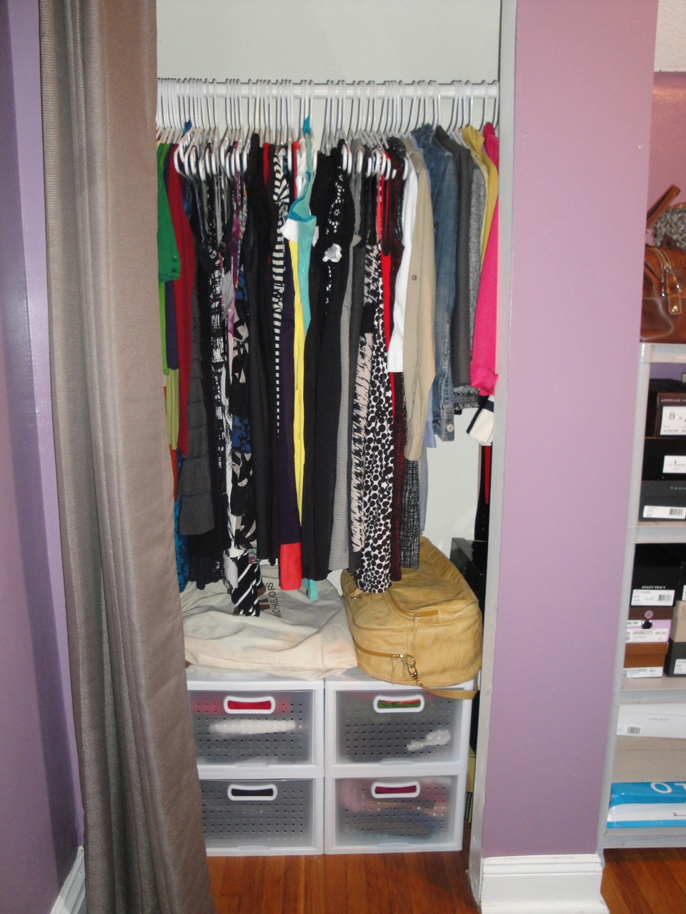 The newly improved and organized closet  L to R  Cardigans  dresses   casual  dressy  work   blazers  Target Home window panel   24 99  on a rod    9 99  add. Organizing a Small Closet on a Budget   Economy of Style