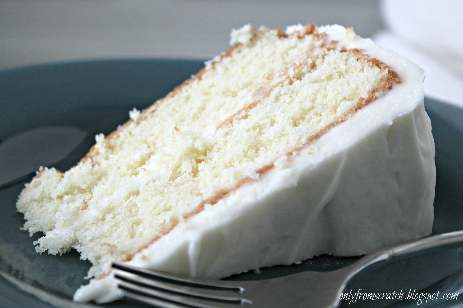 only from scratch simple layer cake with vanilla frosting