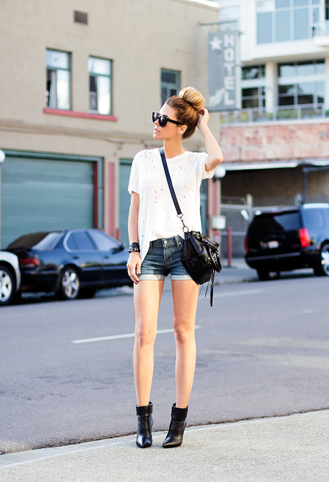 Gorgeous look denim short, white t-shirt and cute bun
