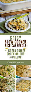 Spicy Slow Cooker Rice Casserole with Green Chiles, Green Onions, and Cheese from KalynsKitchen.com