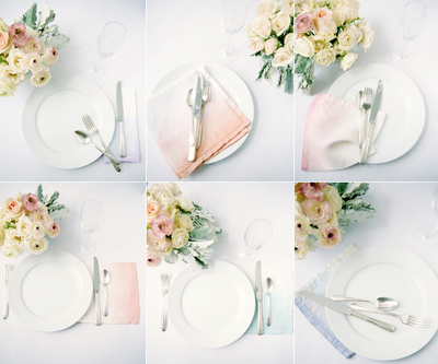 Blush Decor This simple hand dyed napkin idea is perfect for a wedding