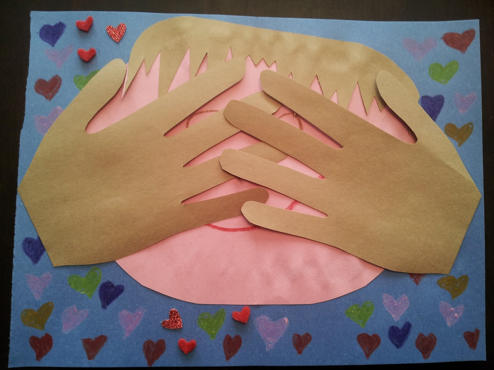 """Peek-a-Boo I Love You"" Valentine handprint card, Valentine's Day crafts, kids crafts"
