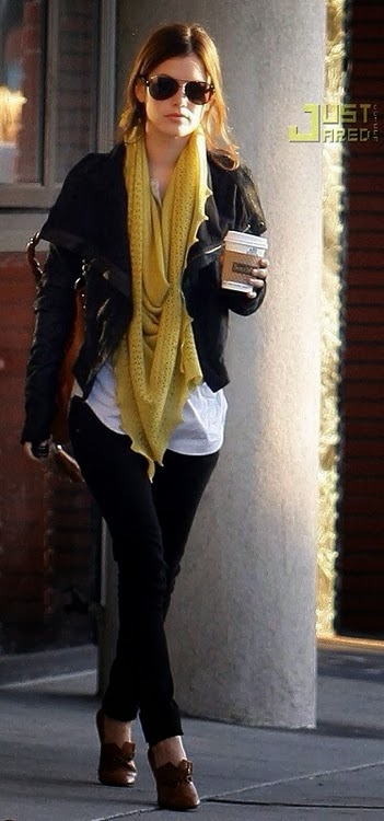 just a pretty style black and white outfit with mustard