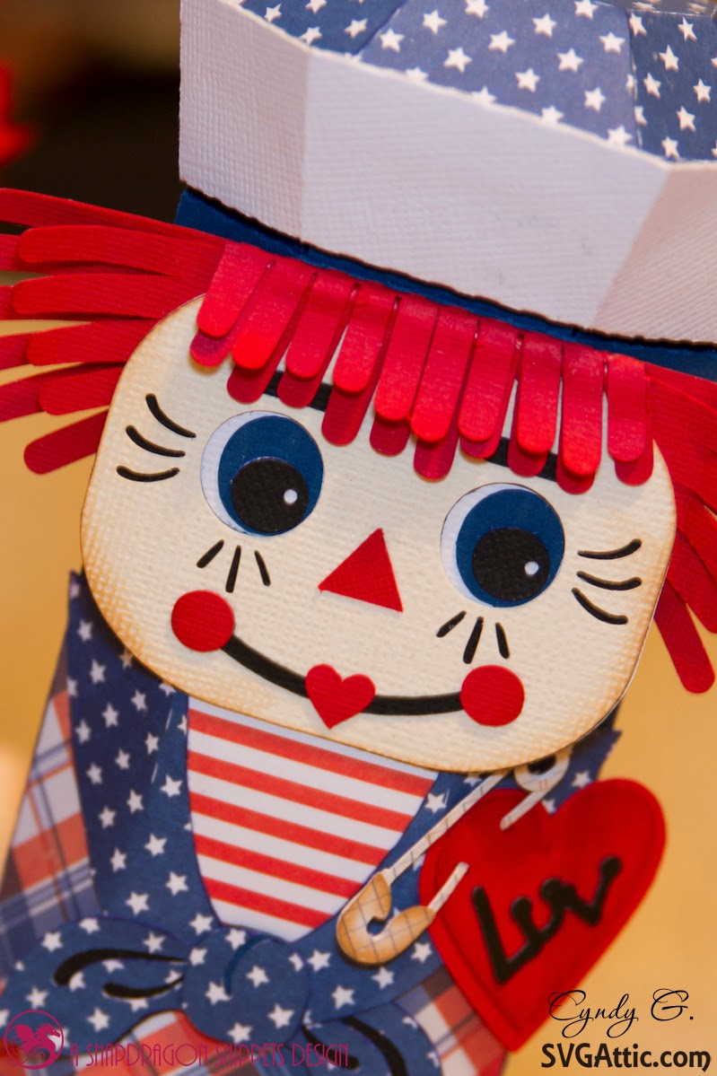 Close up of Raggedy Andy's face