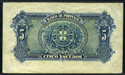 Portuguese paper money 5 Escudos note Banco de Portugal