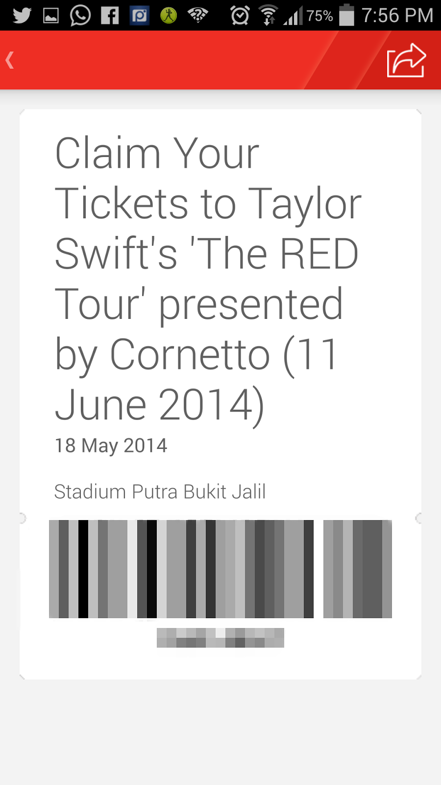 Taylor Swift Concert tickets won from Hotlink RED Apps *yayyy*