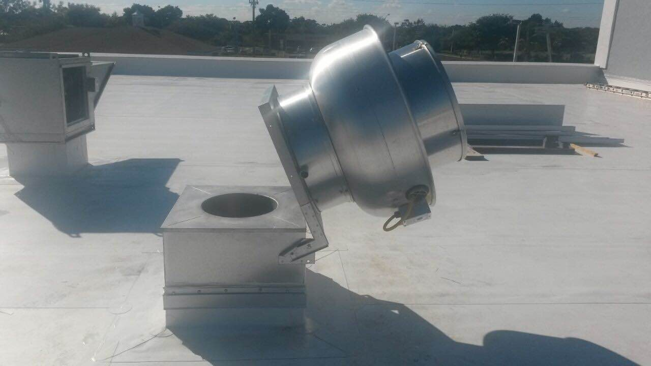 Exhaust Fan Hinges Installed. AFB Products  10 Gauge Galvanized Heavy Duty Exhaust Fan Hinges